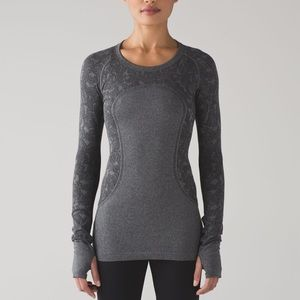 Lululemon Gray Floral Swiftly Tech Long Sleeve 10